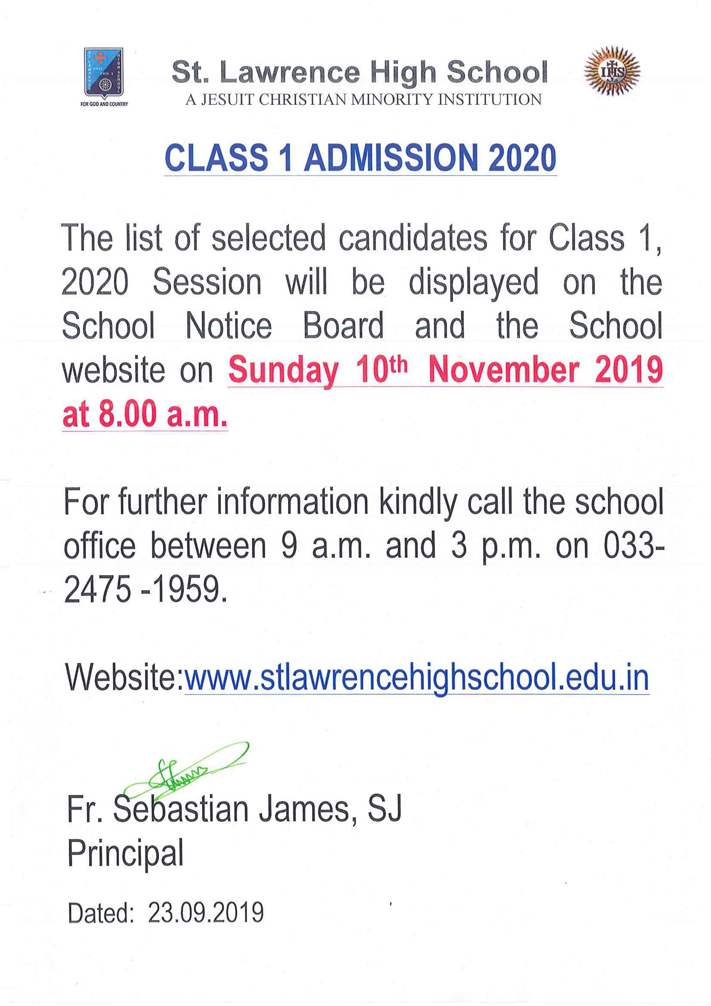 NOTICE FOR CLASS 1 ADMISSION - 2020
