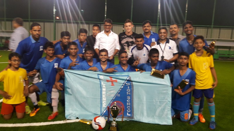 Football Champions at the Inauguration of the Astro Turf ground at New Town School